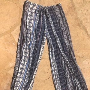 Pants - Blue Patterned Pants with Drawstring